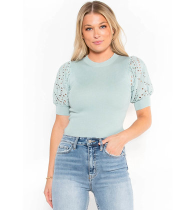 MOMENTS NOTICE EYELET KNIT TOP