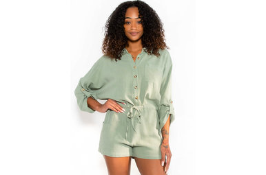 DOUBLE THE FUN ROMPER - SAGE