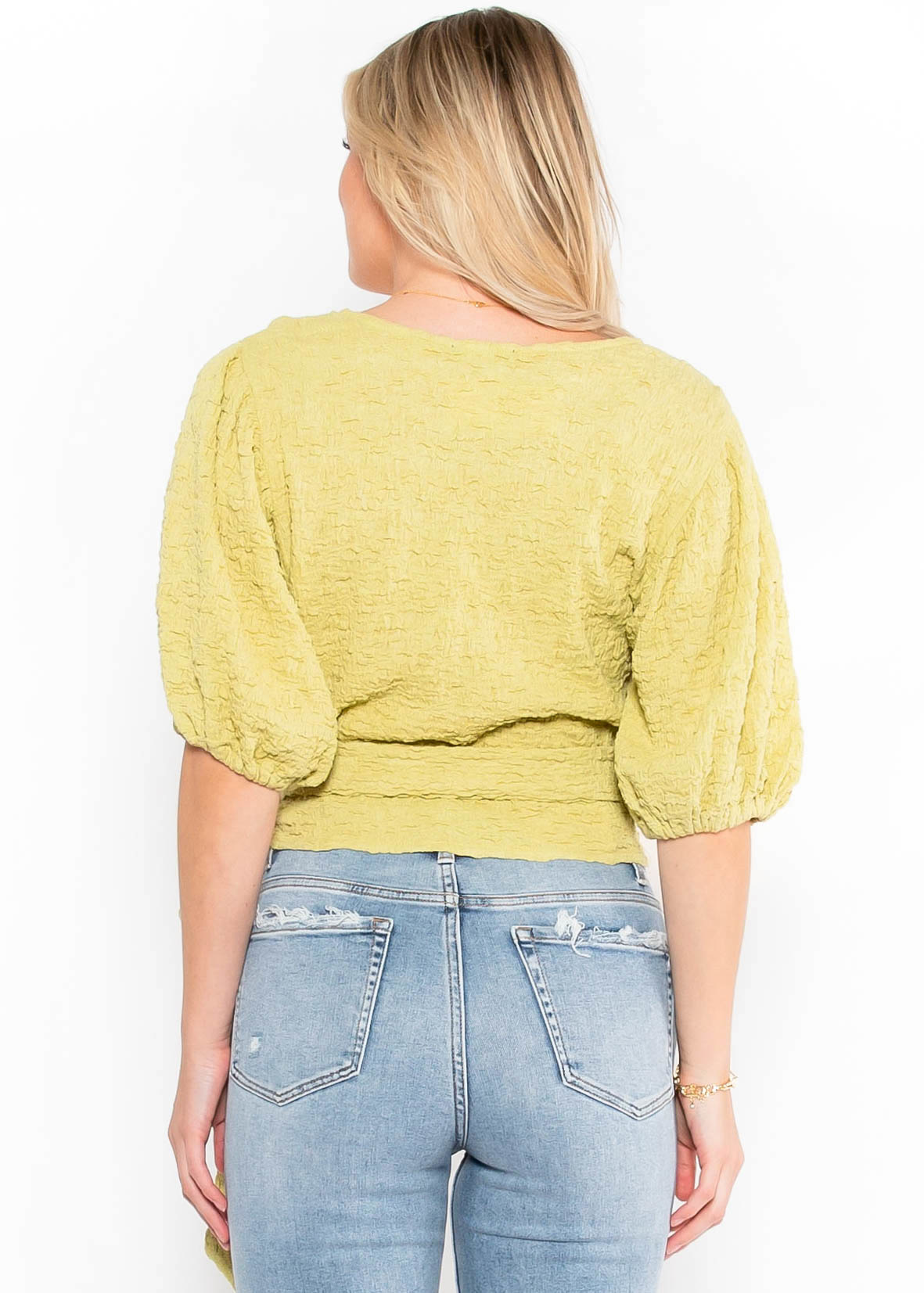 BRIGHT SIDE WRAP TOP - LIME