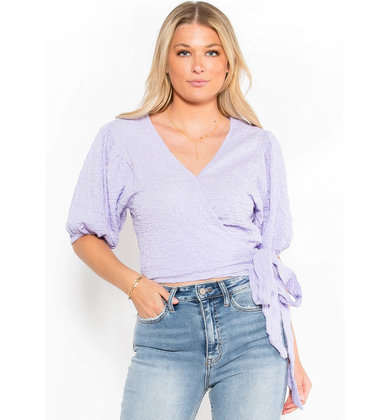 BRIGHT SIDE WRAP TOP - LAVENDER