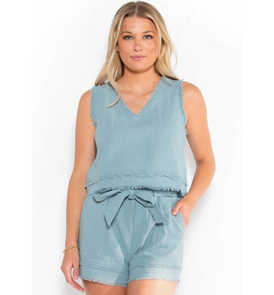 BLAKELY FRAYED TANK TOP - BLUE