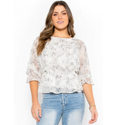 SPRING SHOWERS PEPLUM BLOUSE