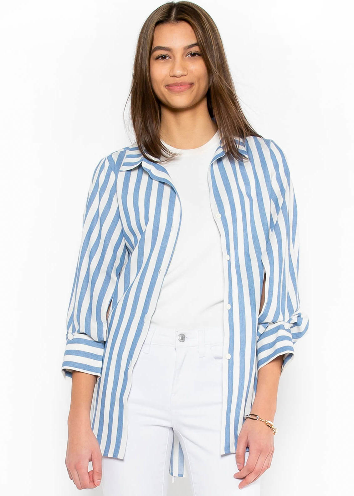 CROSSING PATHS STRIPED BUTTON UP