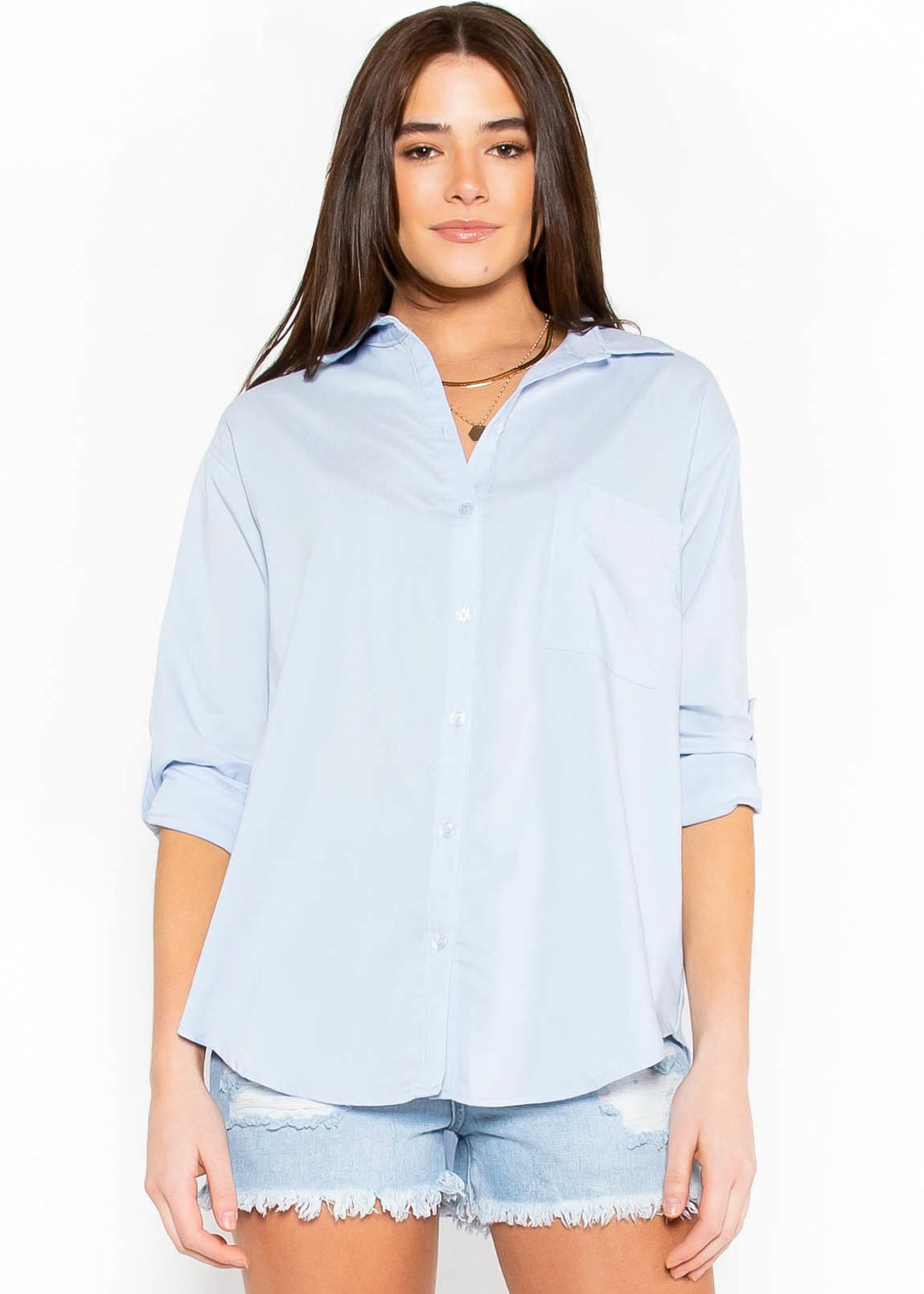 PUT IN THE WORK BUTTON UP - BLUE