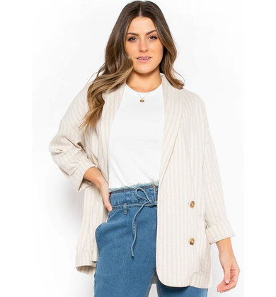 LOST IN DIRECTION STRIPED BLAZER