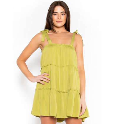 HELLO MOROCCO DRESS - CHARTREUSE