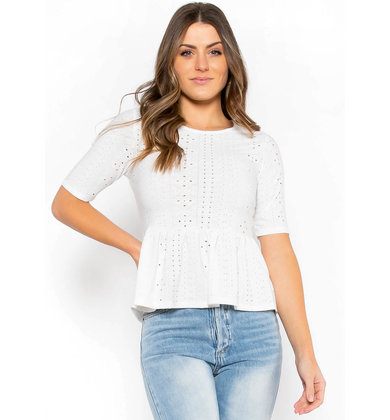 DEFINING MOMENTS EYELET LACE TOP