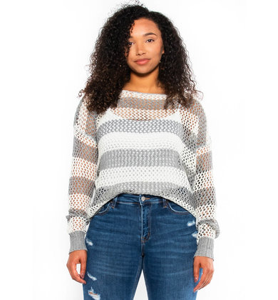 SPACE BETWEEN OPEN KNIT SWEATER