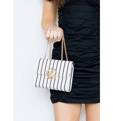 LEANDRA STRIPED HANDBAG
