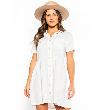 PATIO PLAY BUTTON UP DRESS