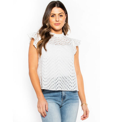 DOLLED UP WHITE EYELET BLOUSE