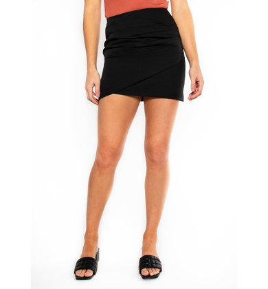 BREXA BLACK RUCHED MINI SKIRT