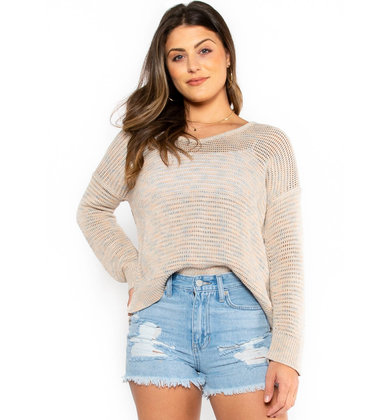 HONEYCOMB TAUPE SWEATER