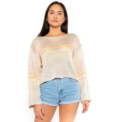 UPTOWN FLARE STRIPED SWEATER