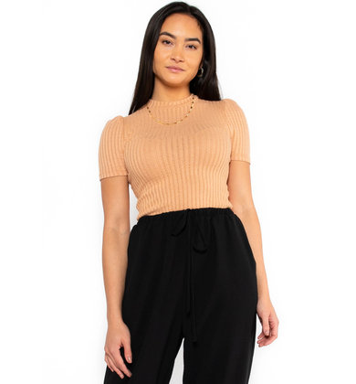 SPRING FLING FITTED TOP - PEACH