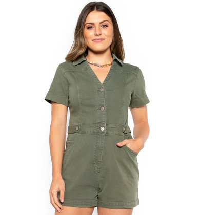 VINEYARD OLIVE DENIM ROMPER