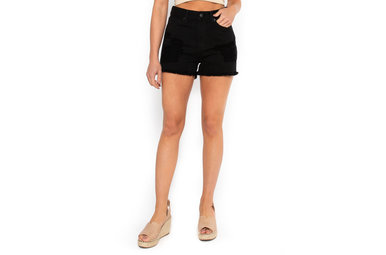 PETUNIA BLACK DISTRESSED SHORTS