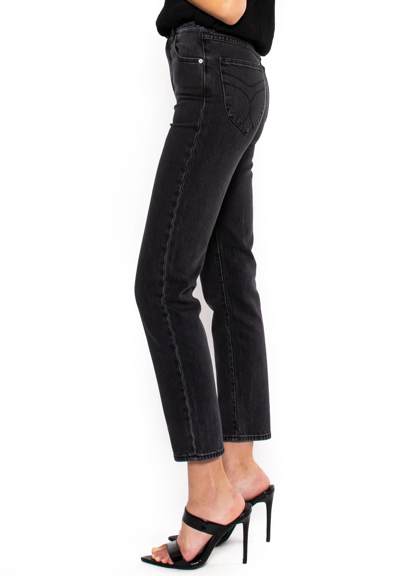 UPTOWN STYLE  FADED BLACK JEANS