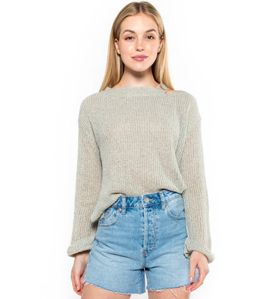 UNTIL THEN CUTOUT SWEATER - GREY