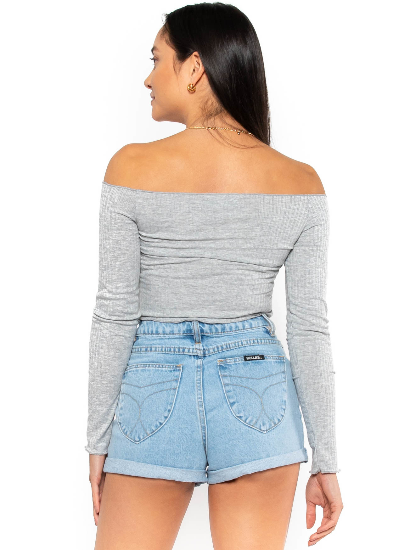 VISIONS OF STYLE GREY CROP TOP