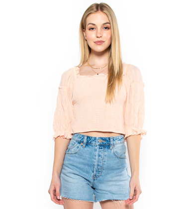 ROOFTOP READY SMOCKED CROP TOP