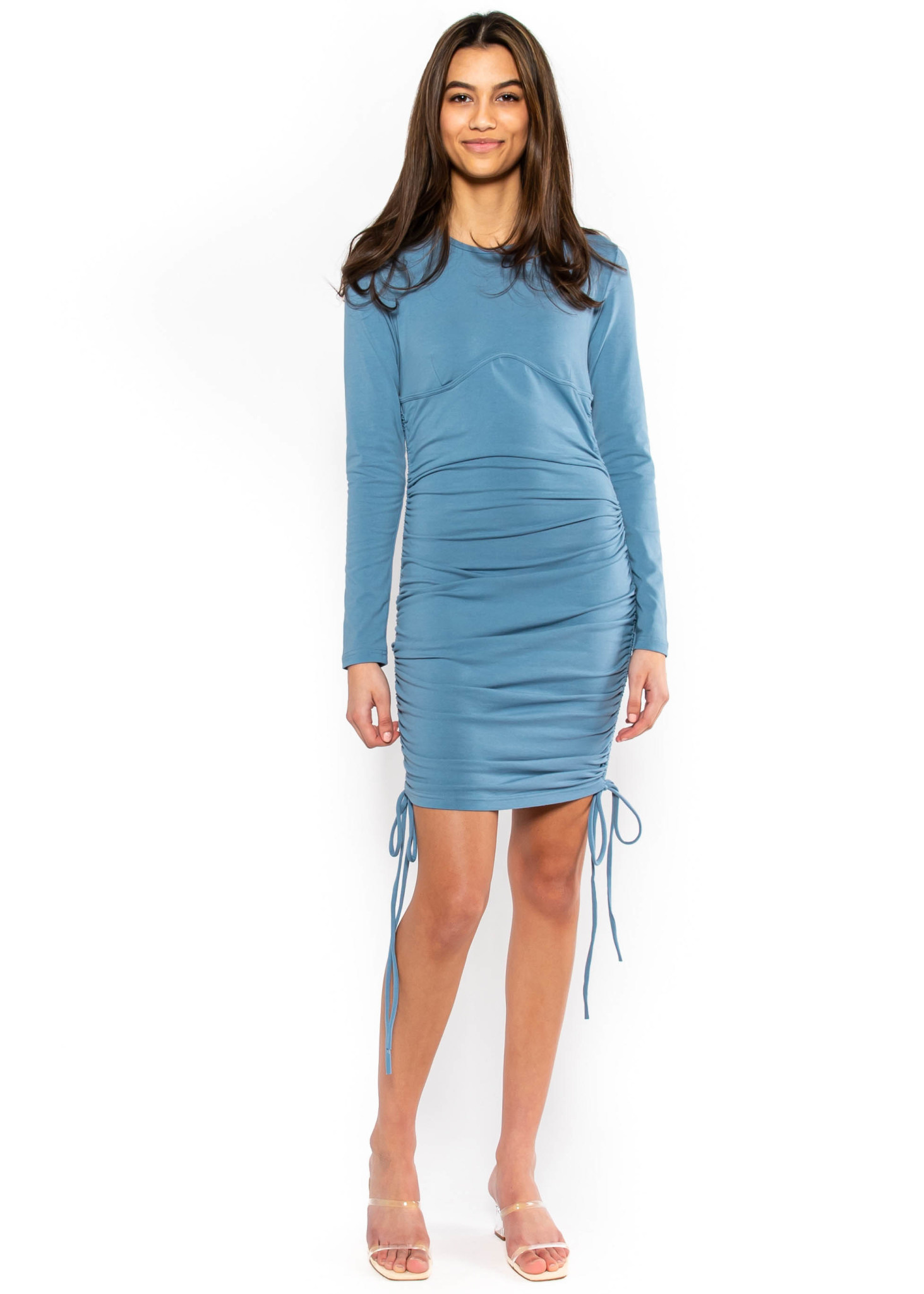 TALK ABOUT US RUCHED DRESS