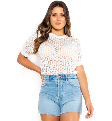 ASK AROUND KNIT TOP - IVORY