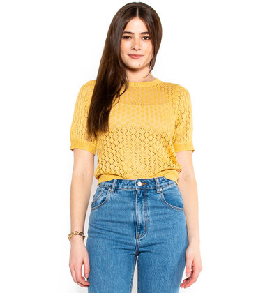 ASK AROUND KNIT TOP - YELLOW