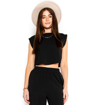 CASUAL RETREAT CROP TOP - BLACK