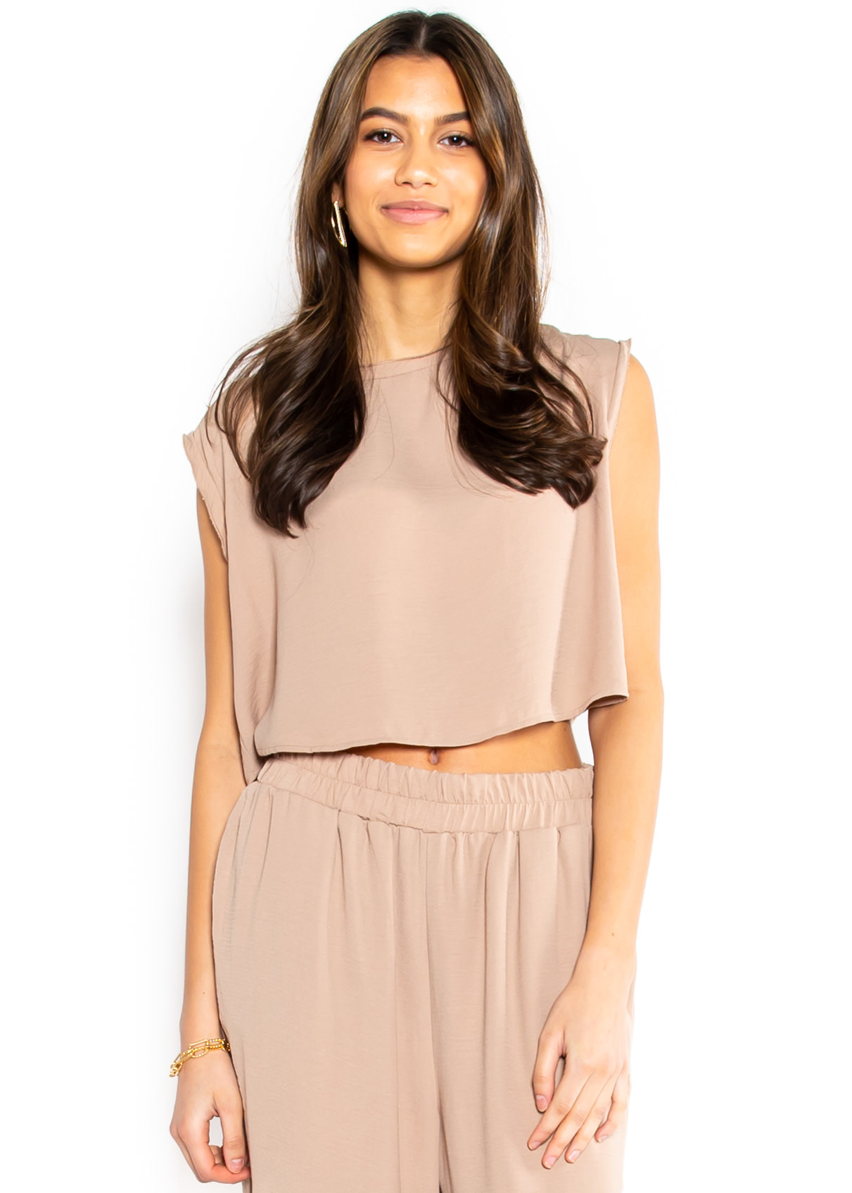 CASUAL RETREAT CROP TOP - TAUPE