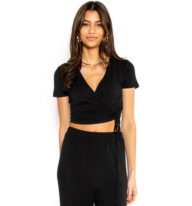 CHILL EVENINGS BLACK WRAP TOP