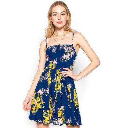 FLORAL ART SMOCKED DRESS