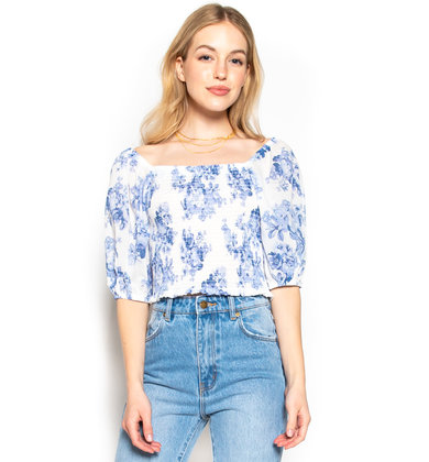 WATCH THE SUNRISE FLORAL CROP TOP