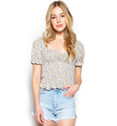 FIELD OF DREAMS CROP TOP - BLUE