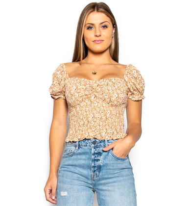 FIELD OF DREAMS CROP TOP - TAUPE