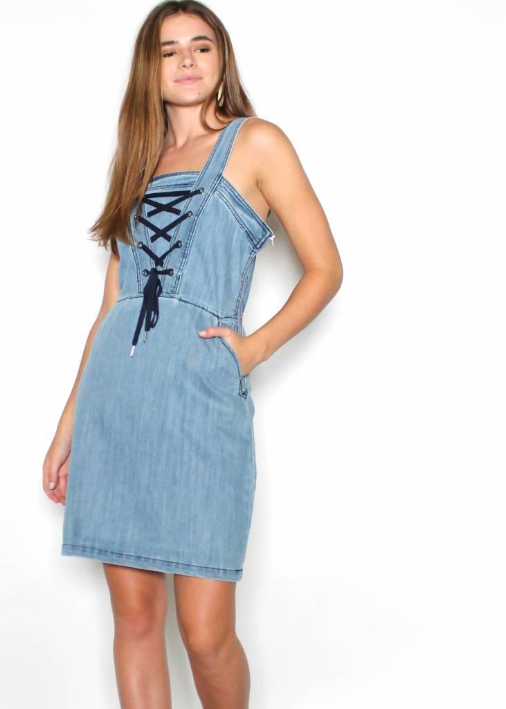 LEONA DENIM LACE UP DRESS