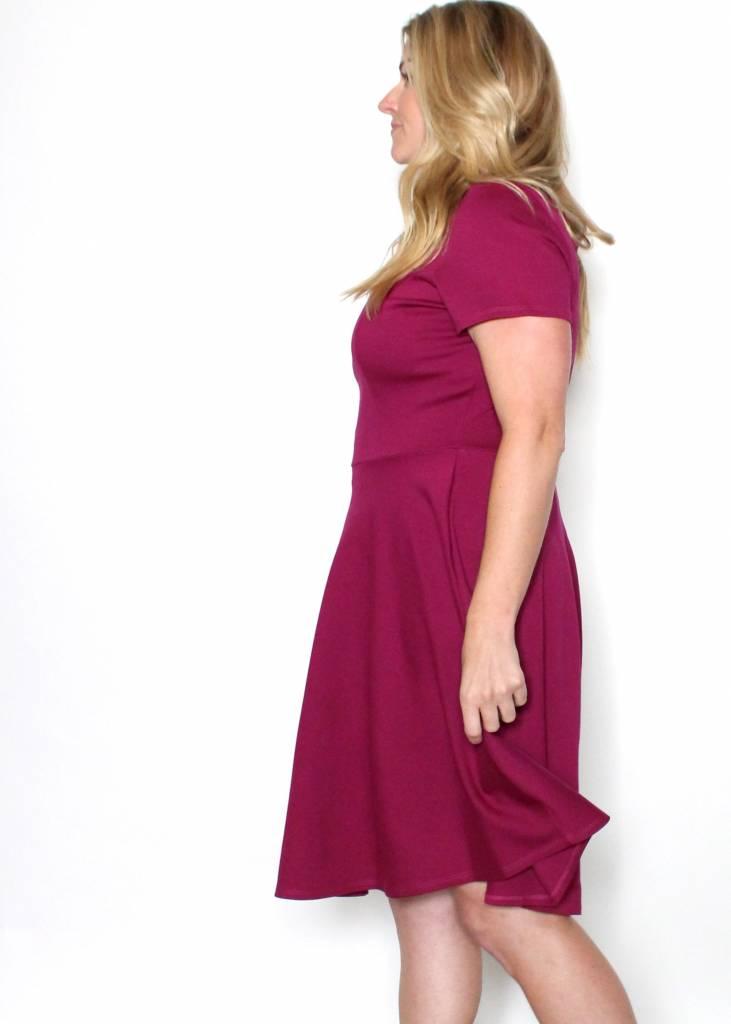 BRINLEY BERRY SCALLOP DRESS