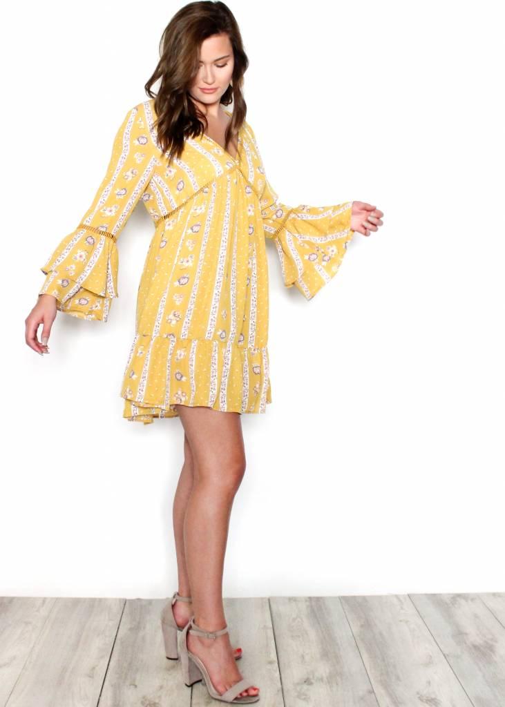 HALEY YELLOW PRINTED DRESS