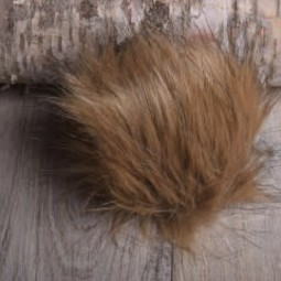 Image of Faux Fur Pom Pom Brown Wolf, Tie Closure
