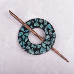 Image of Paradise Teal Stone Chips Shawl Pin SP11002
