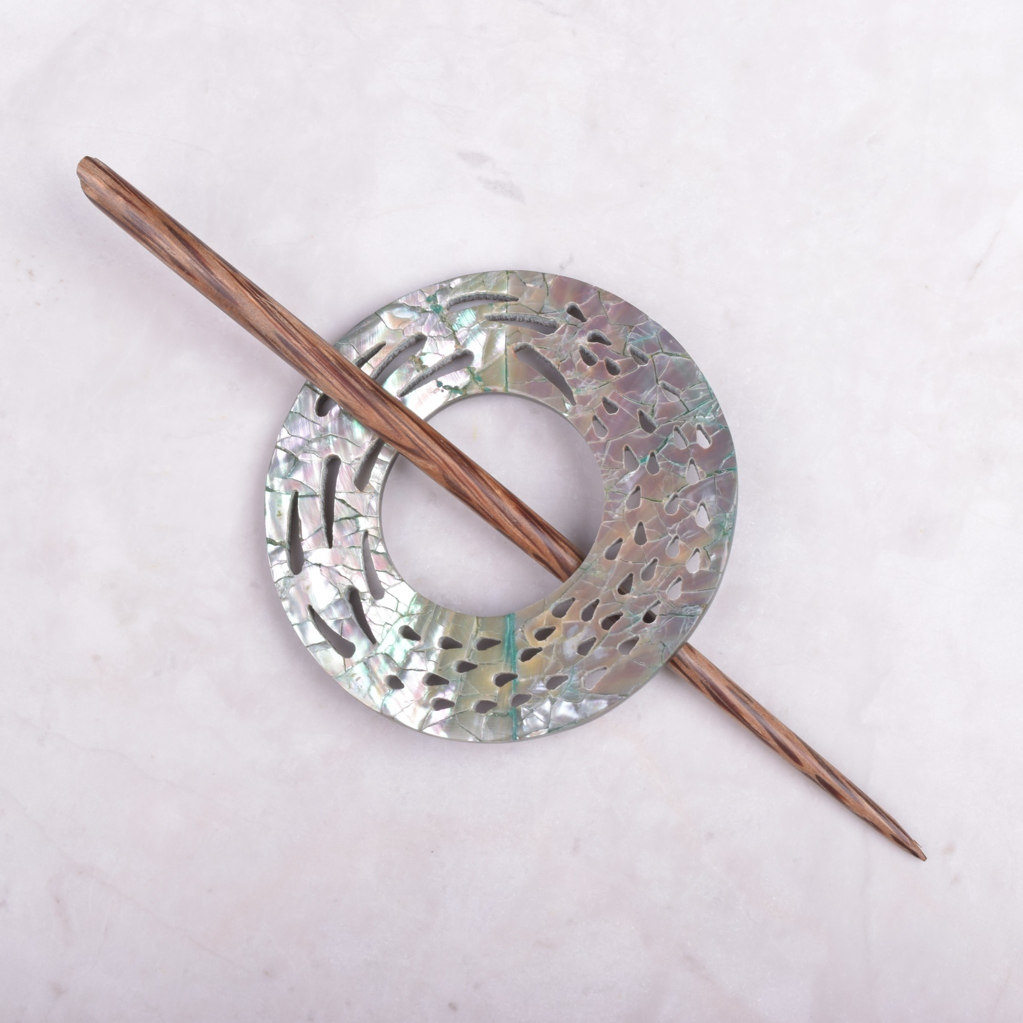 Image of Paradise Round Abalone Lace Shawl Pin SP34401