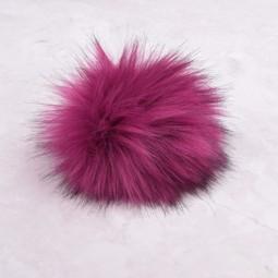 Image of Faux Fur Pom Pom Magenta, Snap Closure