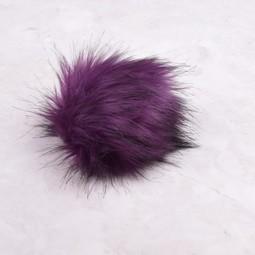 Image of Faux Fur Pom Pom Purple, Snap Closure