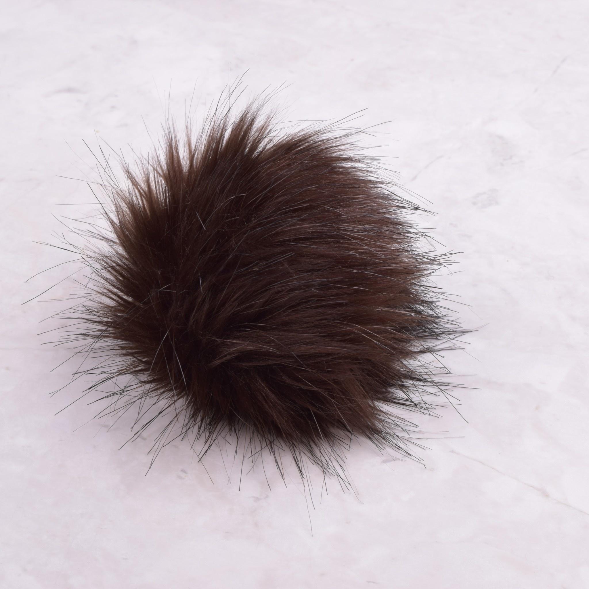 Image of Faux Fur Pom Pom Brown Mink, Tie Closure