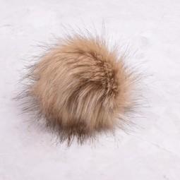 Image of Faux Fur Pom Pom Golden Lynx, Tie Closure