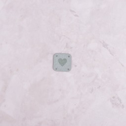 Image of Katrinkles Faux Suede Heart Square Tag, Light Blue
