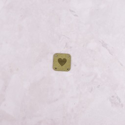 Image of Katrinkles Faux Suede Heart Square Tag, Green