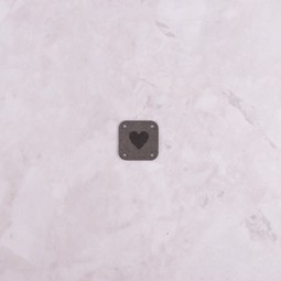 Image of Katrinkles Faux Suede Heart Square Tag, Grey