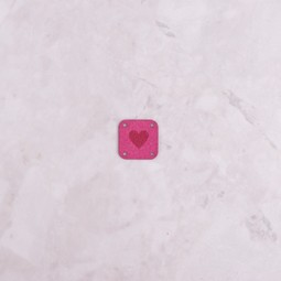 Image of Katrinkles Faux Suede Heart Square Tag, Hot Pink