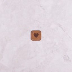 Image of Katrinkles Faux Suede Heart Square Tag, Light Brown